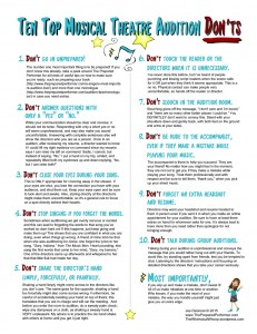 Ten Musical Theatre Don'ts