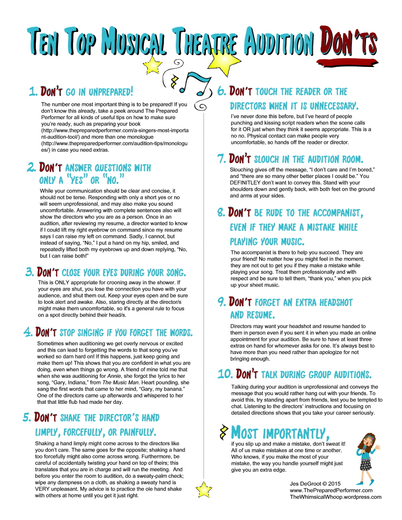 Ten Top Musical Theatre Audition Don Ts The Prepared Performer