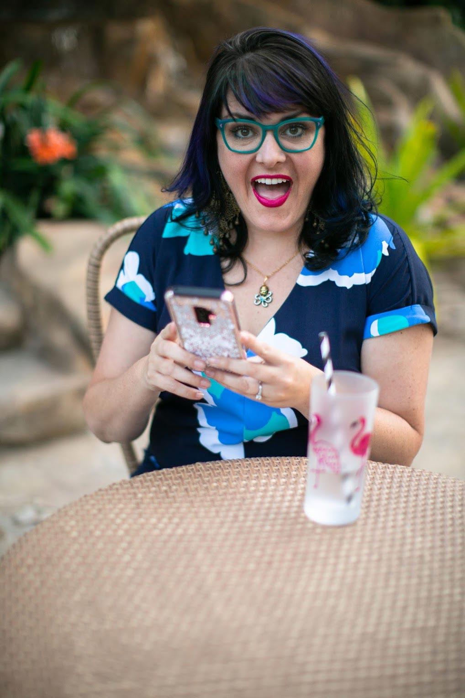 Molly Mahoney, creator of the camera confidence course, having a drink