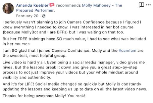 Amanda Kuebler giving a testimonial of a camera confidence course