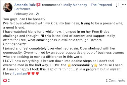 Amanda Ruiz giving a testimonial of a camera confidence course