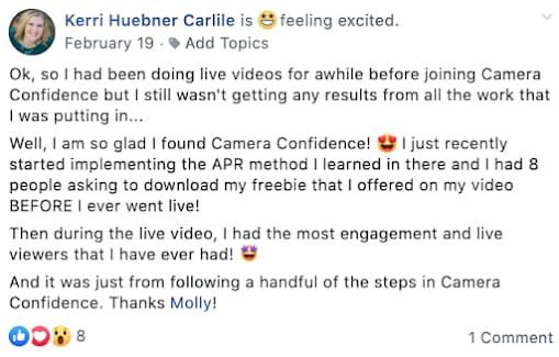 Kerrie Huebner giving a testimonial of a camera confidence course